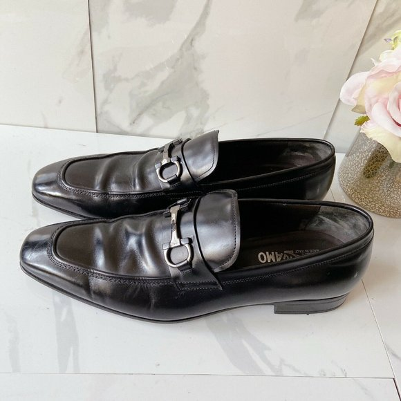 Salvatore Ferragamo Black Leather Dress Shoes 10